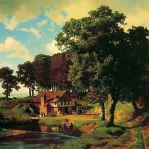 Bierstadt, Albert(USA): A Rustic Mill Oil Painting Reproductions