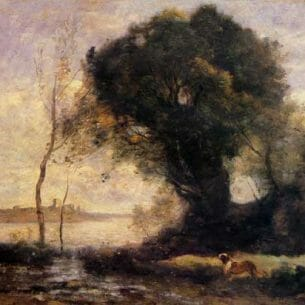 Corot, Jean-Baptiste-Camille – Pond with Dog Oil Painting Reproductions