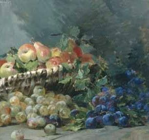 Albert Lavault – Still Life of Apples and Greengages in a Basket