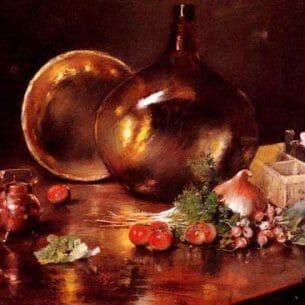 Chase, William Merritt(USA): Still Life (Brass and Glass)