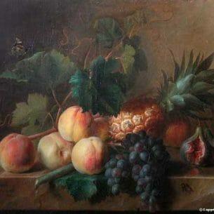 Cornelis Spaendonck – Peches, raisins et ananas sur une table de pierre Oil Painting Reproductions