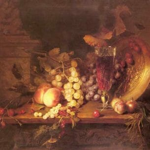Desgoffe, Blaise Alexandre(France): Still Life with Fruit, a Glass of Wine and a Bronze Vessel on a Ledge Oil Painting Reproductions