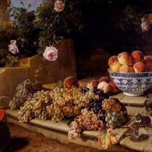 Alexandre-Francois Desportes – Still Life Of Grapes, Peaches In A Blue And White Porcelain Bowl Oil Painting Reproductions