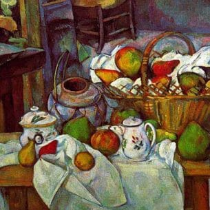 Cezanne, Paul: Vessels, Basket and Fruit  (The Kitchen Table) Oil Painting Reproductions