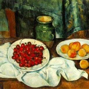 Cezanne, Paul: Still Life with Plate of Cherries Oil Painting Reproductions