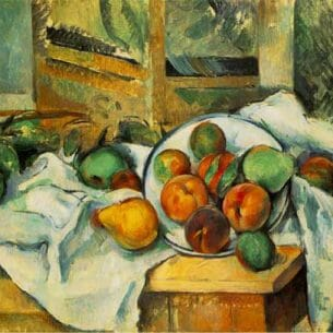Cezanne, Paul: Table, Napkin, and Fruit Oil Painting Reproductions