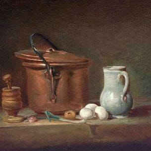 Chardin, Jean-Baptiste-Simeon: Still Life with Copper Pan and Pestle and Mortar Oil Painting Reproductions