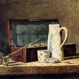 Chardin, Jean-Baptiste-Simeon: Pipes and Drinking Pitcher Oil Painting Reproductions