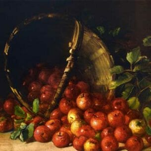 Charles Ethan Porter – Apples in an Overturned Basket Oil Painting Reproductions