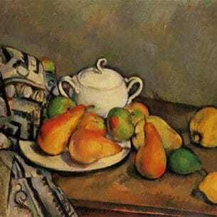 Cezanne, Paul – Sugarbowl, Pears and Tablecloth