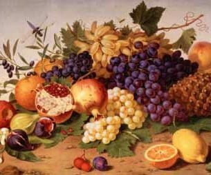 Adolf Senff – Still Life of Grapes, Pineapple, Figs Oil Painting Reproductions