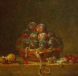Chardin, Jean-Baptiste-Simeon – A Basket with Plums, Nuts, Currants and Cherries