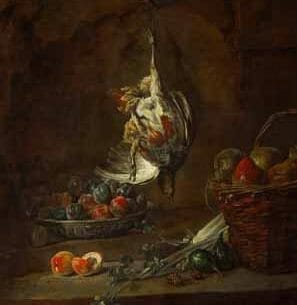 Chardin, Jean-Baptiste-Simeon – Dead Partridge Hung by One Leg, Bowl with Prunes, and a Basket with Pears Oil Painting Reproductions