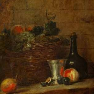 Chardin, Jean-Baptiste-Simeon – Fruit Basket with Grapes, and a Silver Goblet Oil Painting Reproductions