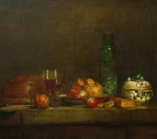 Chardin, Jean-Baptiste-Simeon – Still Life with a Bottle of Olives Oil Painting Reproductions