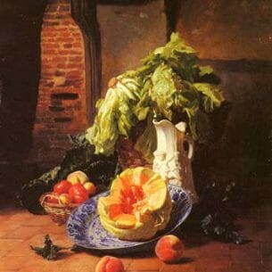 David Emile Joseph de Noter – A Still Life With A White Porcelain Pitcher, Fruit And Vegetables Oil Painting Reproductions