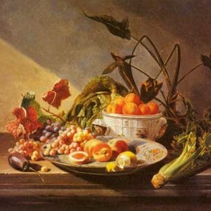 David Emile Joseph de Noter – A Still Life With Fruit And Vegetables On A Table Oil Painting Reproductions