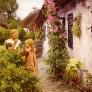 Brendekilde, Hans Anderson: The Cottage Garden Oil Painting Reproductions