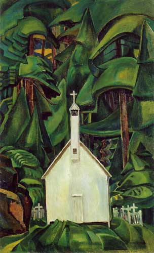 Emily Carr(Canadian, 1871-1945): Indian Church Oil Painting Reproductions