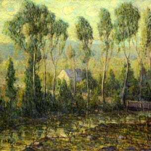 Ernest Lawson – Poplars along a River Oil Painting Reproductions