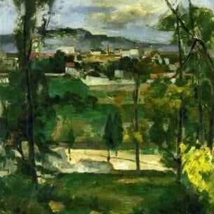 Cezanne, Paul – Village behind Trees, Ile de France Oil Painting Reproductions