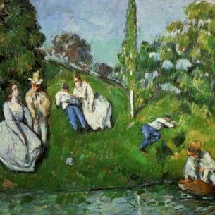 Cezanne, Paul – Couples Relaxing by a Pond Oil Painting Reproductions