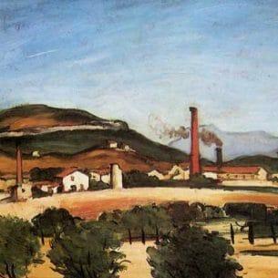 Cezanne, Paul – Factories Near Mont de Cengle Oil Painting Reproductions