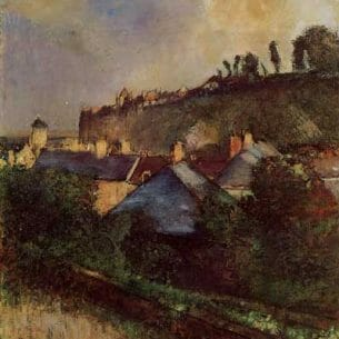 Degas, Edgar -Houses at the Foot of a Cliff (also known as Saint-Valery-sur-Somme) Oil Painting Reproductions