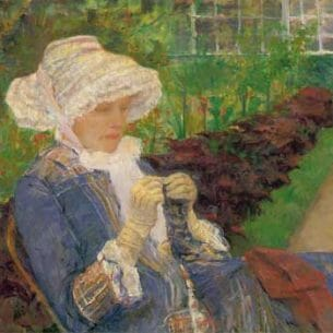 Cassatt, Mary(USA): Lydia Crocheting in the Garden at Marley Oil Painting Reproductions