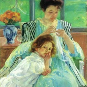Cassatt, Mary(USA): Young Mother Sewing Oil Painting Reproductions