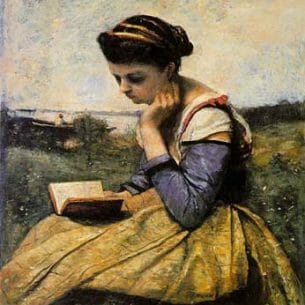 Corot, Jean-Baptiste-Camille – Woman Reading in a Landscape Oil Painting Reproductions