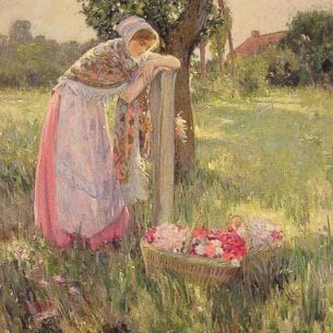 Barlow, Myron G.: Resting by A Basket of Flowers