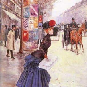 Beraud, Jean(France): Jeune femme traversant le boulevard Oil Painting Reproductions