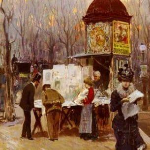 Brancaccio, Carlo(Italy): The Kiosk, Paris Oil Painting Reproductions