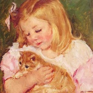 Cassatt, Mary(USA): Sara Holding A Cat