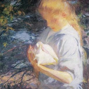 Benson, Frank W.(USA): Eleanor Holding a Shell Oil Painting Reproductions