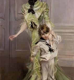 Boldini, Giovanni(Italy): Portrait of Madame Georges Hugo (nee Pauleen Menard-Dozian) and Her Son, Jean Oil Painting Reproductions