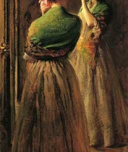 Camp, Joseph Rodefer de(USA): Girl with a Green Shawl Oil Painting Reproductions