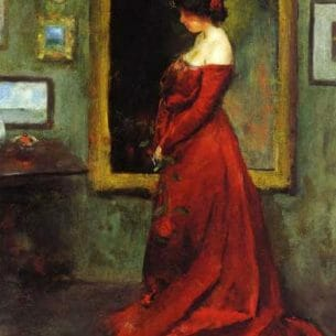 Charles W. Hawthorne – The Red Gown Oil Painting Reproductions