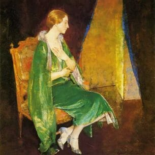 Charles W. Hawthorne – Woman in Green (also known as Portrait of Mrs. Crocket) Oil Painting Reproductions