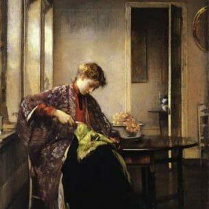 Edmund Tarbell – Girl Mending Oil Painting Reproductions