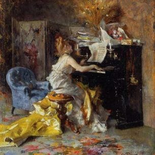 Boldini, Giovanni(Italy) – Woman at a Piano Oil Painting Reproductions