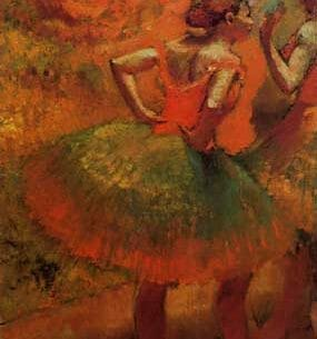 Degas, Edgar – Two Dancers in Green Skirts, Landscape Scenery Oil Painting Reproductions