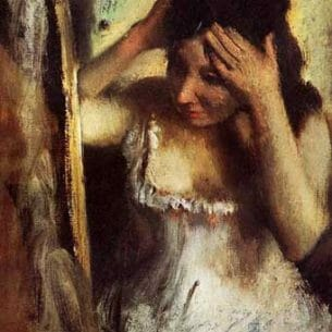 Degas, Edgar – Woman Combing Her Hair before a Mirror Oil Painting Reproductions