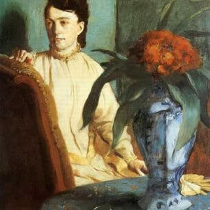 Degas, Edgar – Woman with a Vase of Flowers (also known as Estelle Musson De Gas) Oil Painting Reproductions