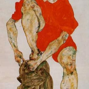 Egon Schiele – Female Model in Bright Red Jacket and Pants Oil Painting Reproductions