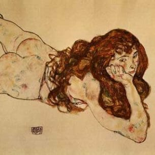 Egon Schiele – Female Nude Lying on Her Stomach Oil Painting Reproductions