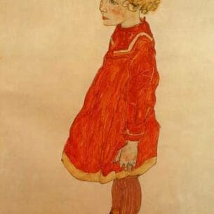 Egon Schiele – Little Girl with Blond Hair in a Red Dress