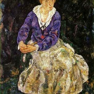 Egon Schiele – Portrait of the Artist's Wife, Seated Oil Painting Reproductions