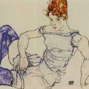 Egon Schiele – Seated Woman in Violet Stockings